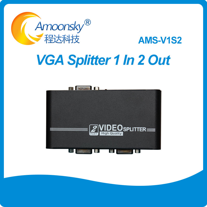 V1S2 1 to 2 ports VGA video splitter duplicator 1-in-2-out <font><b>450MHz</b></font> device cascadedable Boots Video Signals 1920*1440 image