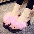 Pena Sapatos de verão Mulher Sandálias sapato feminino Havaí Praia Plana borla Cunha Flip Flops Senhora Chinelo sandalias mujer z117