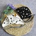 Bonito Gorro Bebê Enfant Algodão Orelhas Longas Chapéu Crianças Estrelas Impressão Meninos Meninas Cap para 3-18 Meses Preto/branco