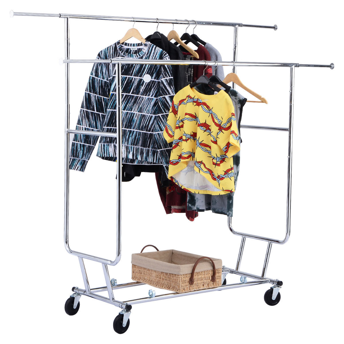 Goplus Commercial Grade Collapsible Clothes Hanger Rolling Double Garment Rack Laundry Clothes Drying Rack HW52156