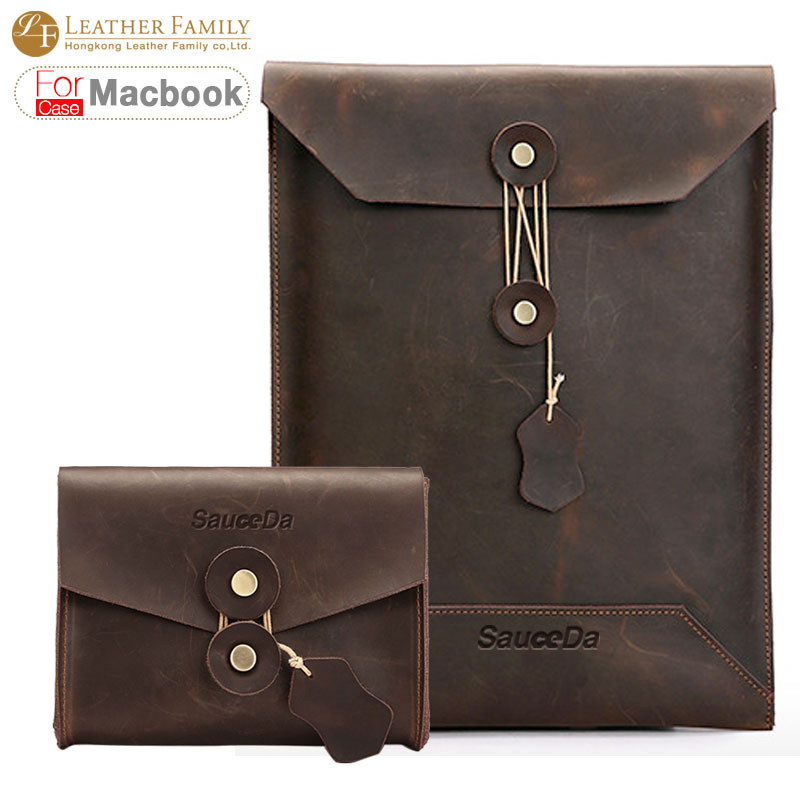 For macbook pro 13 retina case Vintage Genuine Leather bag for macbook air 11.6 12 15.4inch laptop Sleeve Pouch with Mouse Bags pokoko brand notebook laptop sleeve bag case for apple macbook air 13 pro 13 3 inch retina portable handbag laptop bag