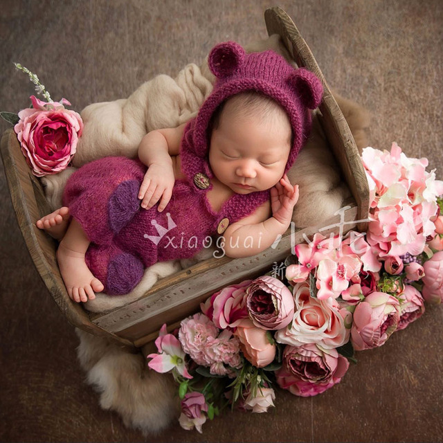 Baby romper photography newborn baby overalls newborn mohair hat bonnet and pant set clothes photo props