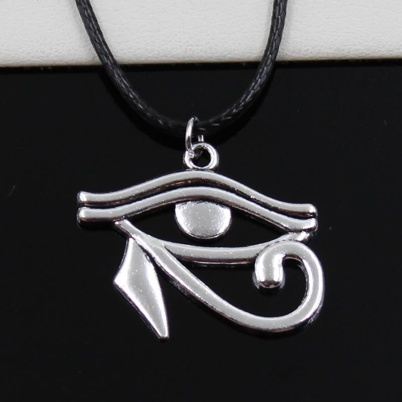 Mode baru Tibet perak liontin, Mesir kuno mata Horus kalung, Choker kabel kulit hitam, Harga pabrik perhiasan buatan tangan