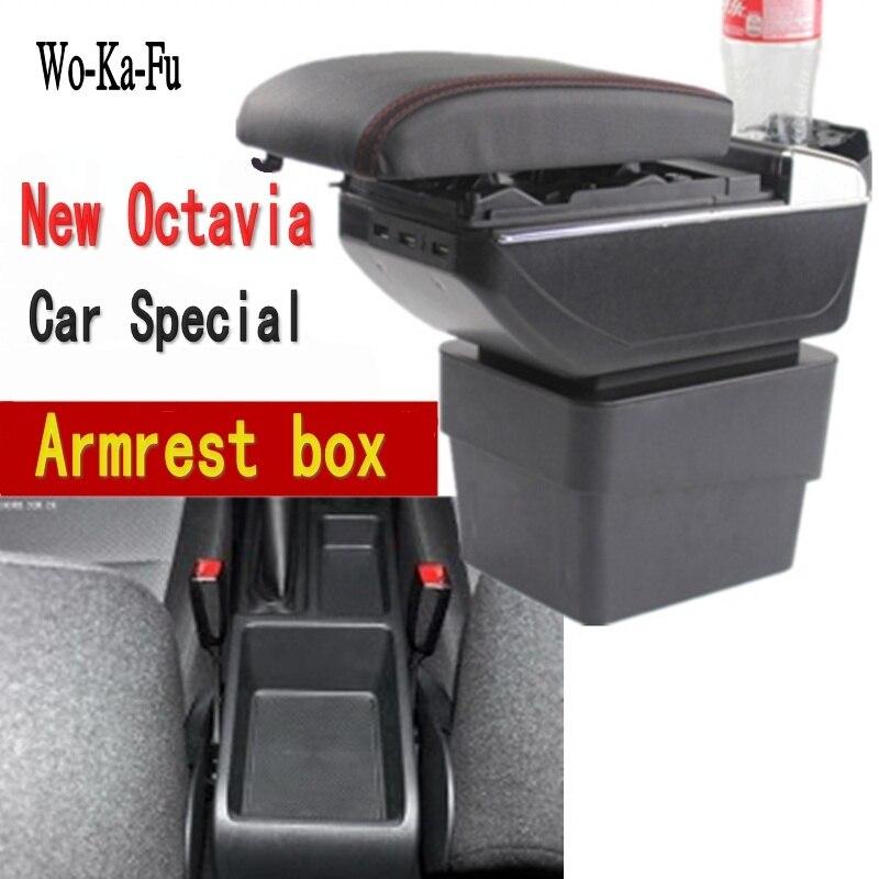 Para Novo Skoda Octavia A7 caixa apoio de braço central caixa de armazenamento caixa de Armazenar conteúdo USB interface de acessórios de decoração 2015-2018