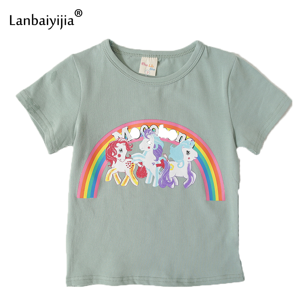 Lanbaiyijia Fashion Rainbow pony t shirt Cotton T shirt Short Sleeve Cartoon Summer Casual t-shirt Child Tops Girl Kid tshirt
