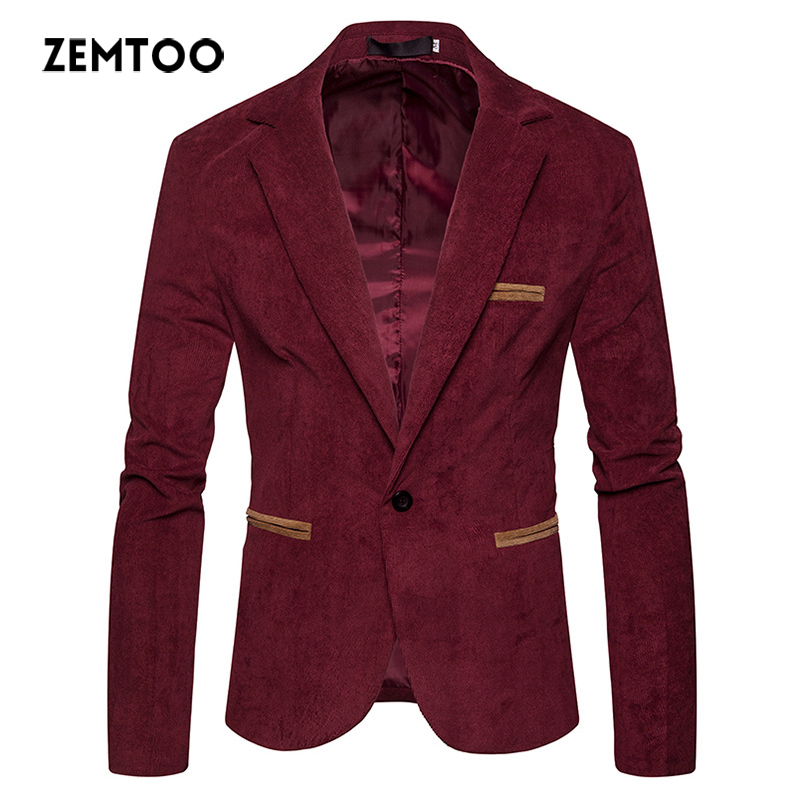 zemtoo Mens Blazer Slim Fit Suit Jacket 2018 Spring Autumn Outwear Coat Suits For Men Mens Blazer Brand Clothing Solid Color