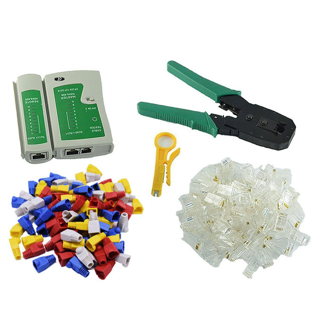 Multifunction RJ11 RJ45 Cat5 Cat6 Crimping Plier Network Crimper Tools Kit With 100 8P8C Connector Cable Tester 100 Plug Cover
