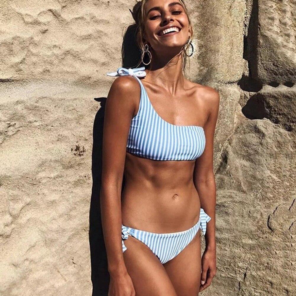 OUTAD 2018 HOT Sexy Lady zweiteiler Bikini Set Hohe Elastizität Streifendruck Badebekleidung Beachwear Engen Schnell Dry Schlank frauen Badeanzug