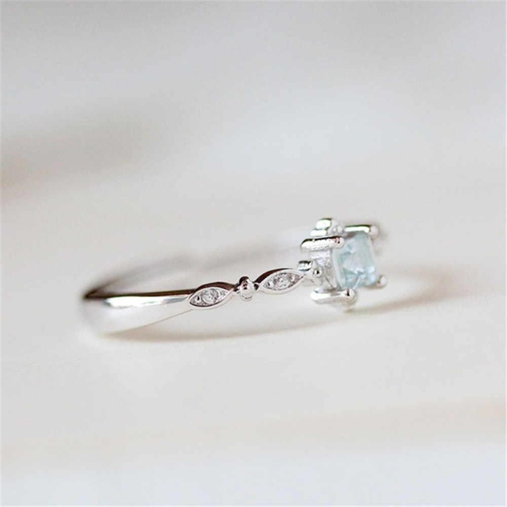 แหวนผู้หญิง Vintage ที่สวยงามสีขาวเงินแหวนหมั้นแหวนเครื่องประดับเครื่องประดับสไตล์ประณีต Aneis