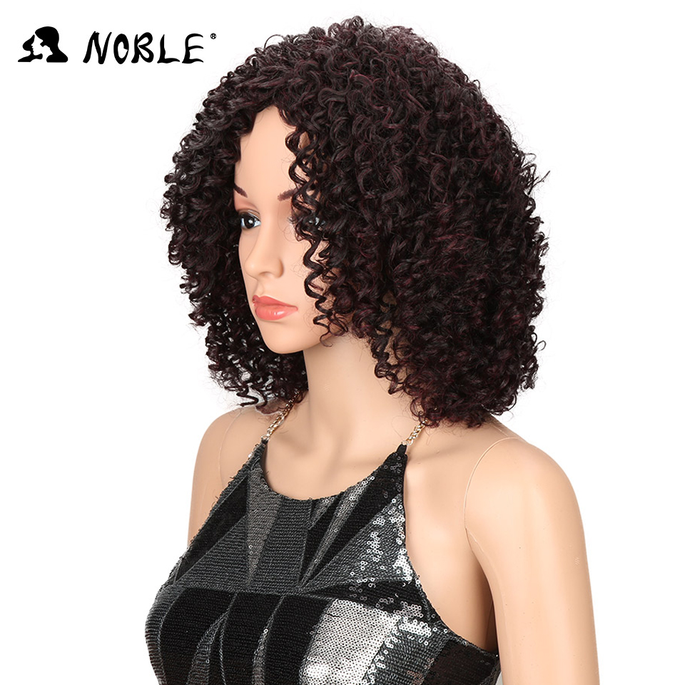 Noble Hair Short Curly Syntetisk Paryk 14 tums Ombre 99J Curly Parys - Syntetiskt hår - Foto 2