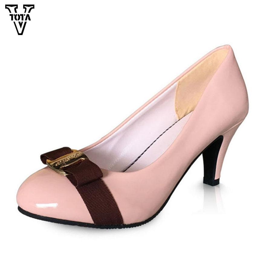 VTOTA 2017 Fashion High Heels Platform Shoes New Women Pumps Office Shoes Slip On Shoes Woman OL Pumps Wedges Career LSGY10