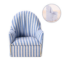 1:12 Dollhouse Miniature Furniture Sofa Chair Living Room Navy Stripe Soft Queen Princess Sofa for Baby Toys girls Doll Gift(China)