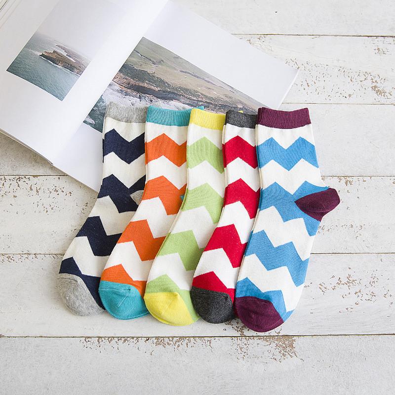 5pairs/lot Casual Mens Cotton Colorful Happy Socks Harajuku Color Business Dress Socks Waves Plaid Long Socks Calcetines FT104