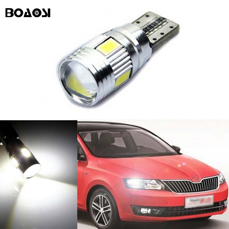 BOAOSI 1x T10 W5W 5630SMD Error Free Samsung LED Canbus For skoda superb octavia a7 a 5 2 fabia rapid yeti Felicia 2pcs brand new high quality superb error free 5050 smd 360 degrees led backup reverse light bulbs t15 for jeep grand cherokee