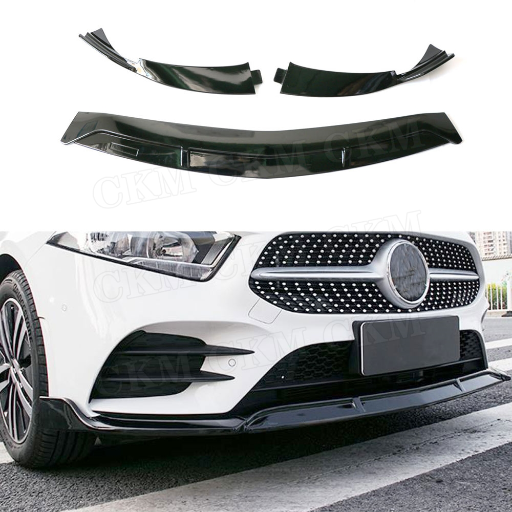 For <font><b>W176</b></font> ABS Black Front Lip Spoiler Splitters for <font><b>Mercedes</b></font> <font><b>Benz</b></font> A Class <font><b>W176</b></font> <font><b>A200</b></font> Sport 2019 3 PCS/Set Head Bumper Chin Guard image