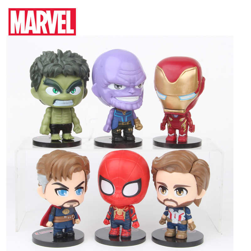 6 stks/set De Avenger Figuur Set Infinity War Thanos Ironman Spiderman Captain Amerikaanse Hulk Black Panther PVC Action Figure 7 CM