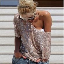 Sexy Loose Off Shoulder Sequin Glitter T Shirts Women Short Sleeve Summer Tees S