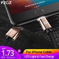 PZOZ LED Light Cable Fast Charger Mobile Phone 8 Pin USB Cable For iphone Xs Max Xr 6 s Plus X 8 7 5 SE 6s iPad charging cord 2m
