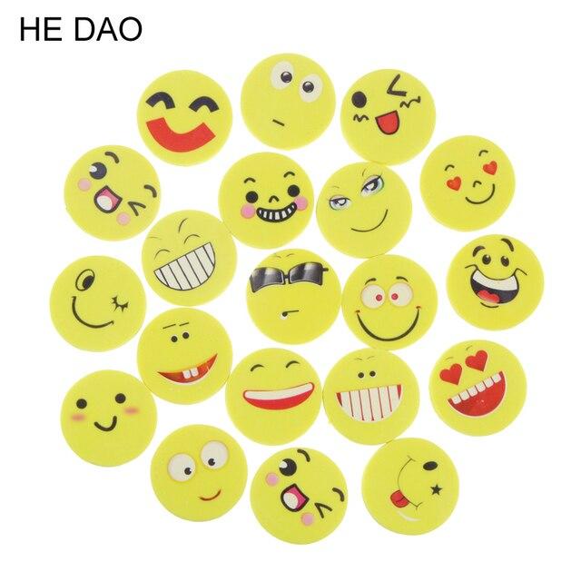 20 teile/los Lächeln Gesicht Radiergummis Gummi Für Bleistift Kid Lustige Nette Schreibwaren Neuheit Radiergummi Büro Zubehör Schule Liefert