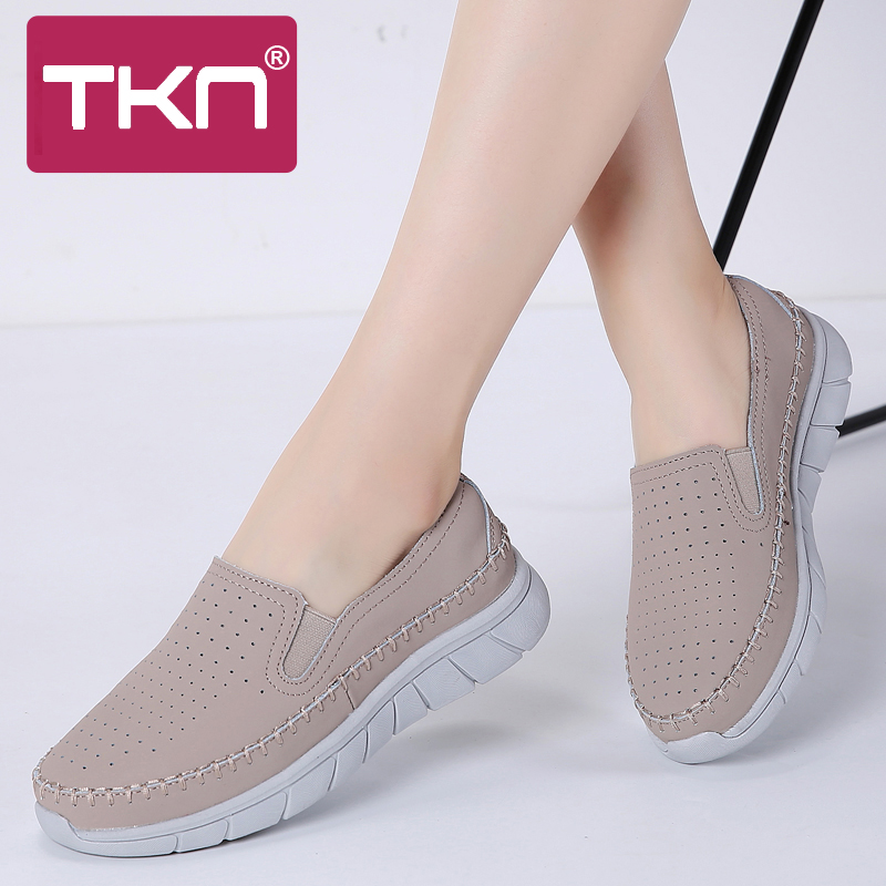 TKN Women Flats Leather Loafers Ballet Flats Sneakers Work Shoes Woman 2019 Autumn Slip On Black Tennis Shoes For Women 19089