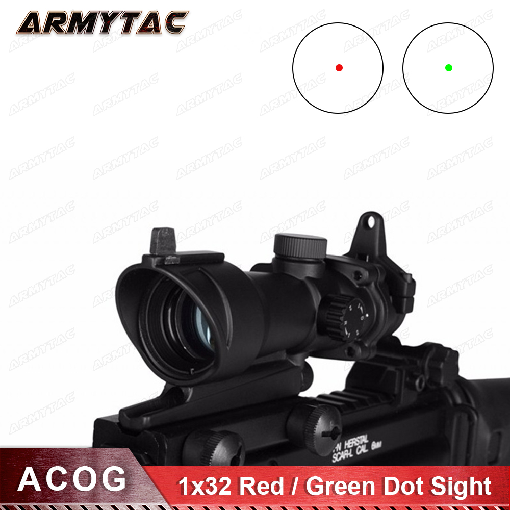 OPTICS ACOG 1x32 Red Green Dot Sight Tactical Airsoft Optical RifleScope Hunting Weapon Gun Rifle Scope tactical hunting optics sniper deer hunting scope 1 75 5x24 e red green illuminated riflescope red laser airsoft gun hunt scope