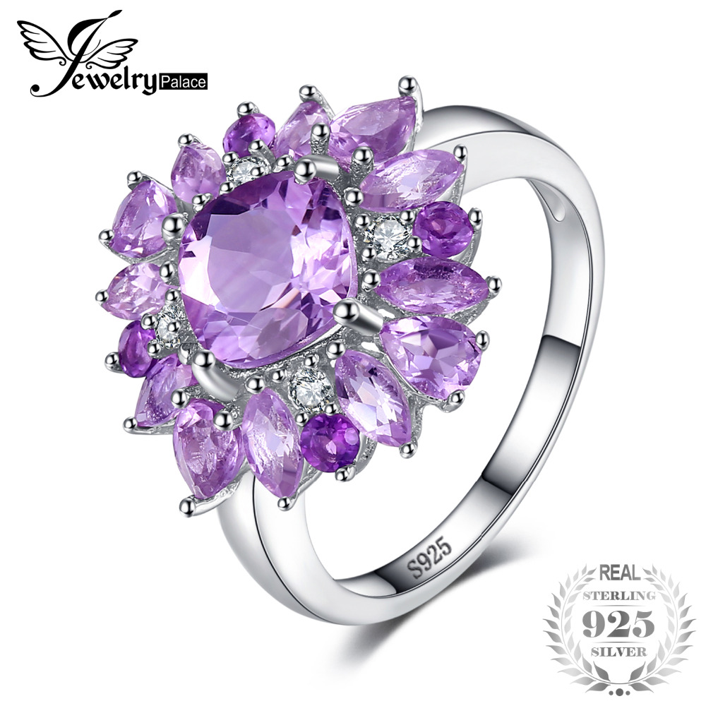 JewelryPalace Luxury 2.47ct Natural Purple Amethyst Engagement Rings For Women Genuine 925 Sterling Silver Party Fashion Jewelry jewelrypalace trillion 1 1ct natural purple amethyst solitaire ring 100% 925 sterling silver women fashion jewelry big promotion