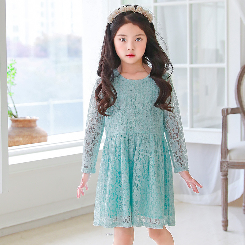 new 2018 baby big girls princess dress children clothing girl party dresses for kids o-neck long sleeve wedding dress clothes
