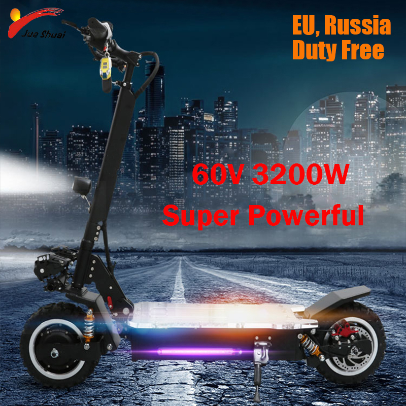 60V 3200W Powerful Electric Scooter Off Road Scooter Electrico 80KM/H 11'' Foldable Adult Two Wheels Scooter Electrique Motor