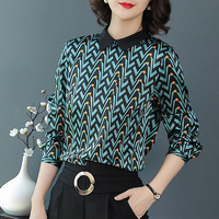 Шелк геометрический принт пуловер Блузка Новинка 2018 года с длинным рукавом для женщин осень рубашки прямого кроя
