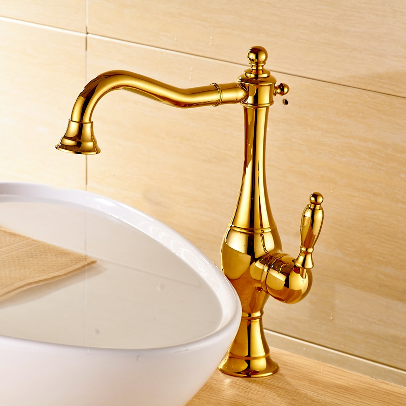 ФОТО Luxury Gold Finish Basin Faucet Bathroom Vanity Sink Tap Single Lever Swivel Spout MIxer Faucet