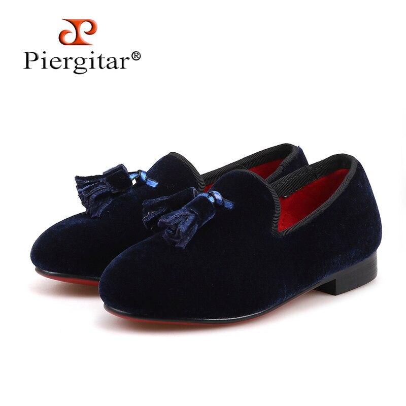 Piergitar 2018 handmade navy colors children velvet shoes party and banquet kid's tassel loafers Parent-child desgisn shoes