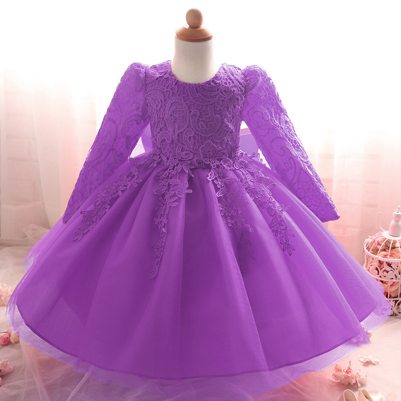 Nacolleo Baby Toddler Infant Girls Princess Dress Kids Lace  Long Sleeve Hollowed Party Wedding Dress for Girls Kids Clothes fashion kids girls toddler baby lace princess party dress clothes 2 7y