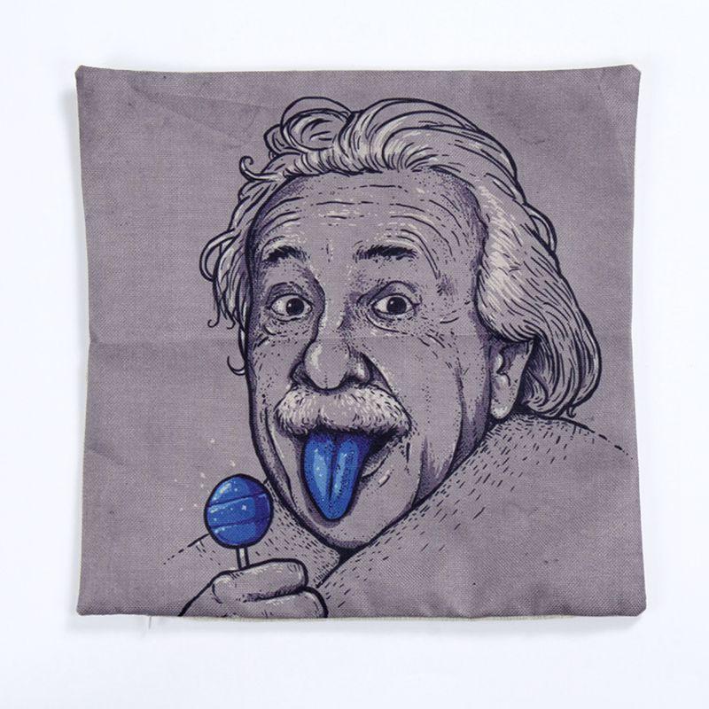 2016 Einstein lollypops måla dekorativa kudde 45x45 linne kudde moderna kreativa coussin kåpa