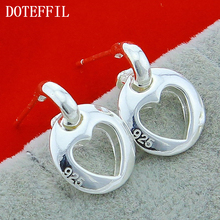 925 Sterling Silver Earrings Simple Heart Stud For Women Hypoallergenic Jewelry Free Shipping