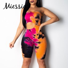 Miessial Tie dye hollow out jumpsuit mameluco mujer de talla grande corto rojo jump suit femenino party club tejido sexy mono(China)