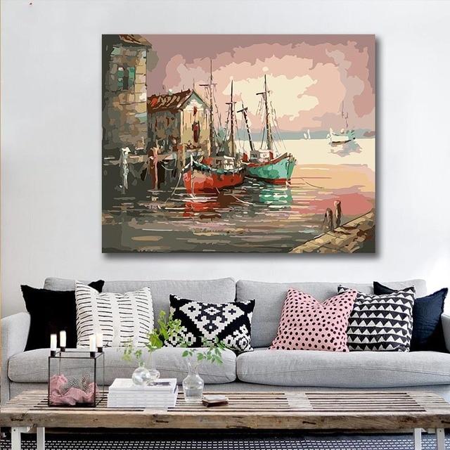 Peinture à numéros coucher de soleil au bord de l'eau 40×50 framed 4
