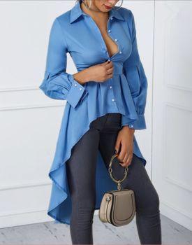 цена на 2019 Women Irregular Blouse Fashion Elegant Turn-down Collarr Single-Breasted Shirt Casual Ladies Lantern Sleeve Dip Hem Tops