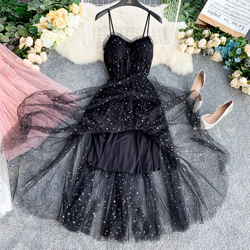 Sequins V-Neck Gauze Ruffles Mesh A-Line Dress 16