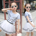 Summer Clothes Sets for Girls Cotton Tops+Skirts Suits Teenager Tracksuits Fashion Girl Clothing Sets Striped Cartoon Suits 2-14