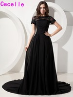Black Modest Long Evening Dresses 2017 With Short Sleeves Beaded Lace Pleats Chiffon A Line Formal