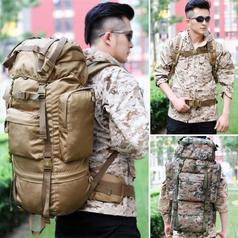Caliente 70L gran capacidad al aire libre bolso militar mochila táctica Camping senderismo impermeable resistente al desgaste Nylon mochila - 2