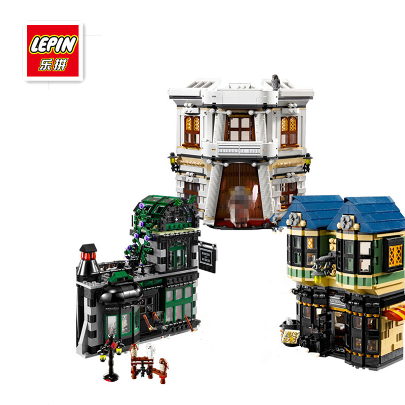 IN STOCK LEPIN 16012 2025Pcs Movie Series Harry Potter The Diagon Alley Set Model Building Kits Blocks Bricks Toy For Children harry potter magical places from the films hogwarts diagon alley and beyond