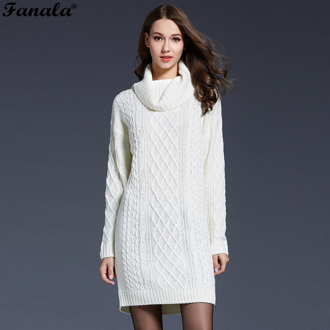 Women Winter Long Sweaters 2018 Turtleneck Knitted Sweater Christmas Long Sleeve Women Sweaters Pullovers pull femme hiver
