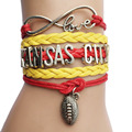 Drop Shipping Infinity  Love Kansas City NFL Football Team Bracelet- Red with Yellow Leather Rope Handmade Wrap