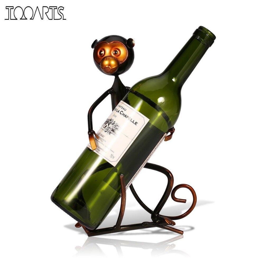Tooarts Monkey Wine Rack Metāla dzīvnieku formas vīna turētāja plaukts Skulptūru pudeļu turētājs Virtuves bāra displeja plaukta apdare