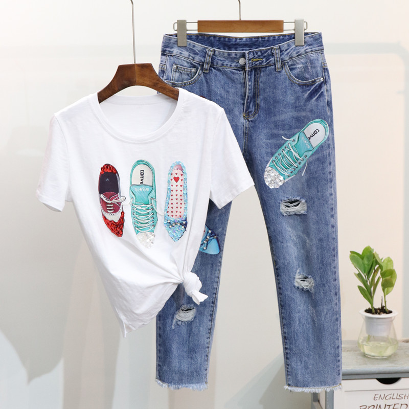 Summer Women T Shirts Denim Pant Suits Fashion Beading Sequined Shoes Pattern Tshirt + Hole Tassel Calf-Length Trousers Sets