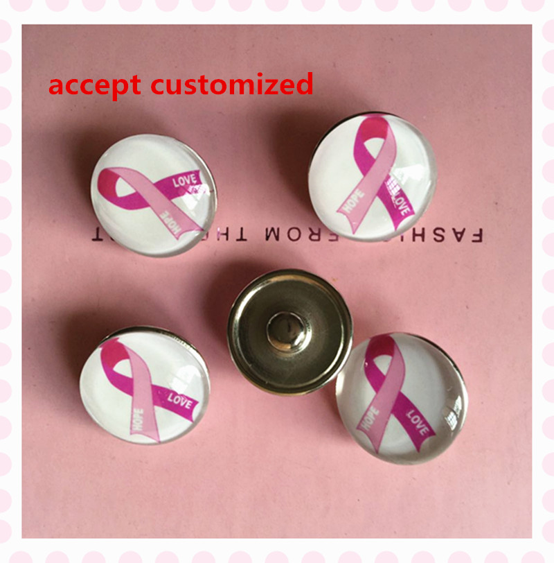 4ec1be786b2 October 18mm alloy glass pink ribbon love hope button positive Breast  Cancer Awareness snap accessory for