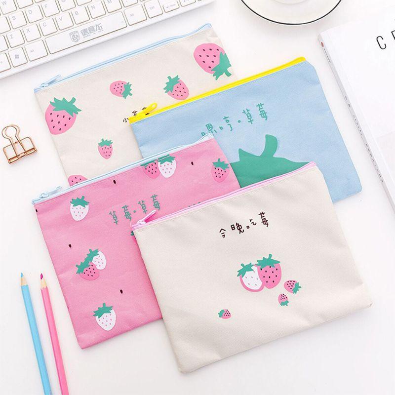 Kawaii Strawberry Business Document Zipper File Pocket Organizer Pen Makeup Storage Bag School Office Supplies