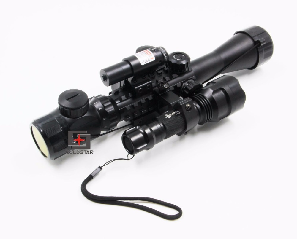 3-9x40EG Tactical Compact Combo Optics Rifle Scope With Laser Sight & T6 LED Hunting Flashlight 5 Mode C8 Torch Flash Light