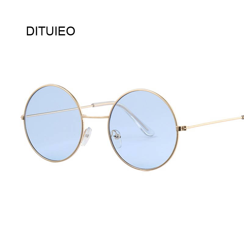 Brand Designer Women Round Sunglasses Fashion Vintage Metal Frame Ocean Sun Glasses For Women Shade Oval Female Eyewear